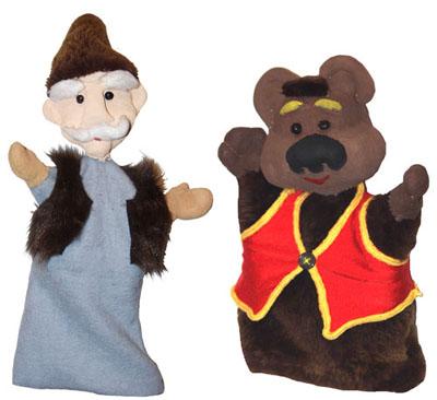 Дед и Мишутка. Готовые куклы-перчатки
