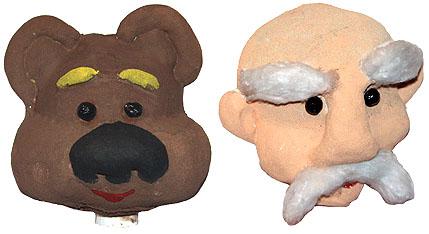 Раскраска заготовок голов кукол-перчаток из чулка и приклеивание мелких деталей
