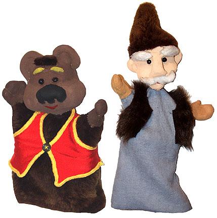Готовые куклы-перчатки. Дед и медвежонок Мишутка